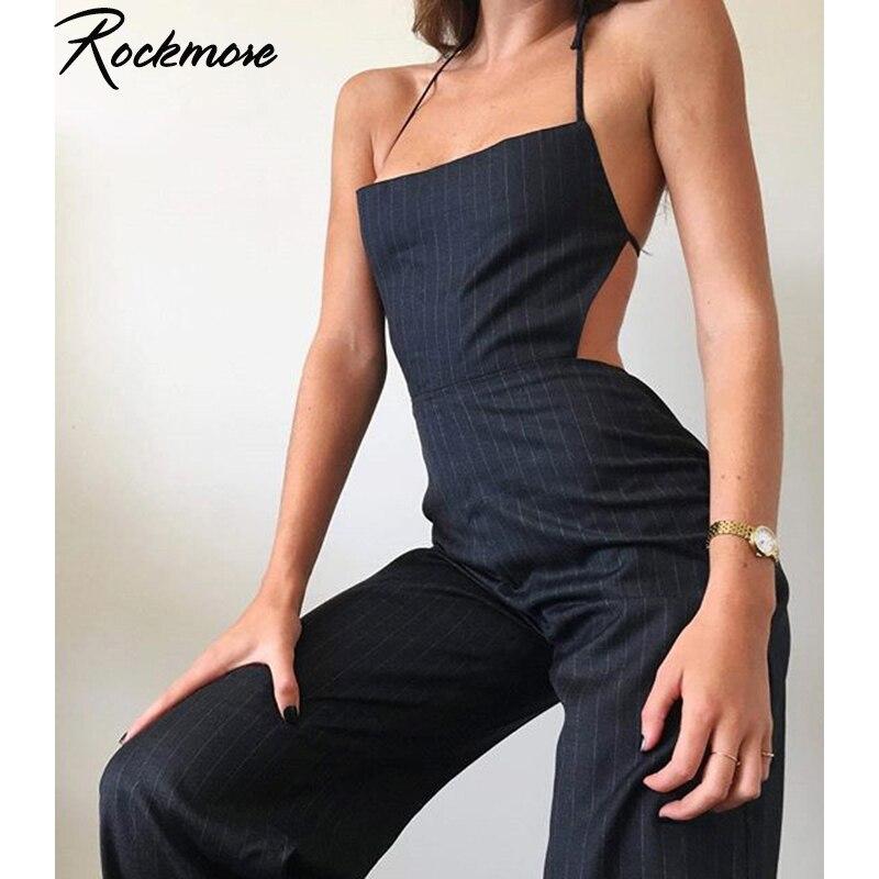 Rockmore Streetwear Striped Overalls Joggers   Pants   Women Harajuku Backless Trousers Plus Size Korean High Waist   Wide     Leg     Pants