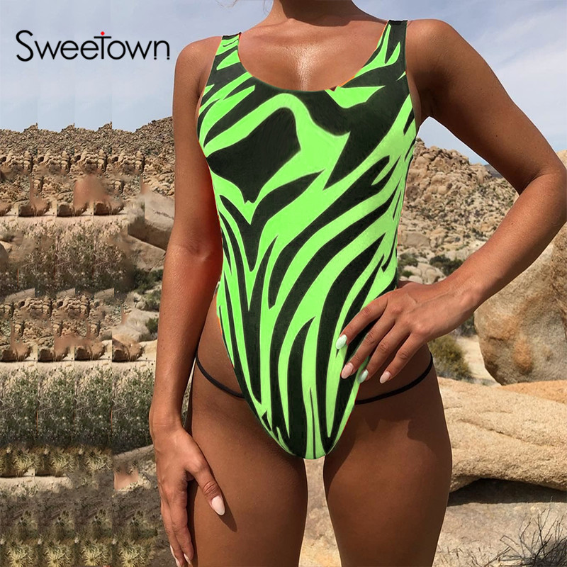 Sweetown Zebra Striped Printed Off Shoulder Strap Bodysuit Women Rave Outfits Neon Color Backless Sexy Bodycon Bodysuits Fashion