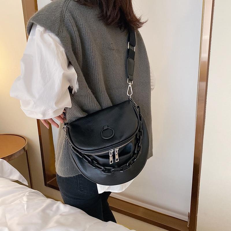 Женская поясная сумка, чистый цвет, оболочка, кожаная нагрудная сумка, Большая вместительная сумка на молнии, сумка-мессенджер на плечо