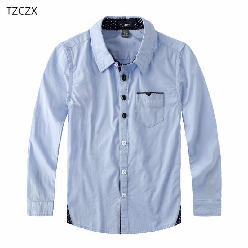 Hot Sale Children Boys Shirts Cotton 100% Solid Kids Shirts Clothing For 4-12 Years Wear at the school