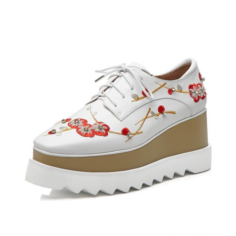 Brand New Women Floral Embroidery Wedges Shoes Thick Platform Lace Up Casual Streetwear Creeper Genuine Leather Square Toe Shoes