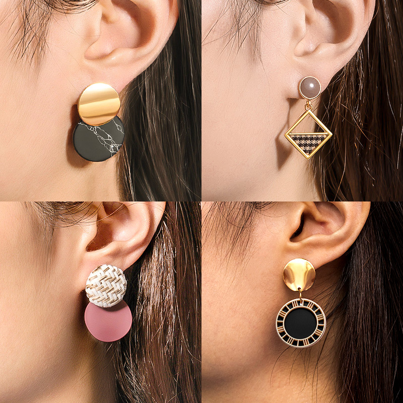 X&P Korean Statement Earrings Fashion Jewelry Vintage Round Acrylic Drop Earrings for Women 2020 Geometric Resin Wedding Earings