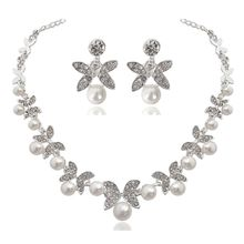 Pearl Elegant Floral Bridal Jewelry Sets for Women Crystal Engagement Necklace Earrings Sets Wedding Jewelry Accessories elegant faux pearl crystal teardrop necklace and earrings