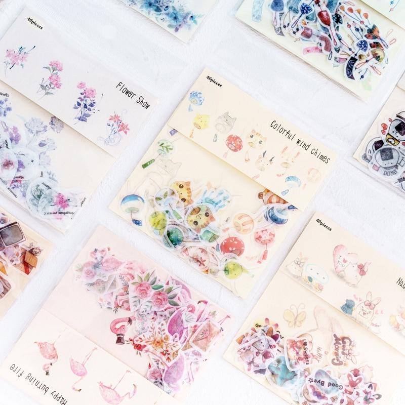 40pcs/lot Cute Cartoon Decorative Diy Diary Stickers Kawaii Planner Scrapbooking Sticky Stationery School Supplies
