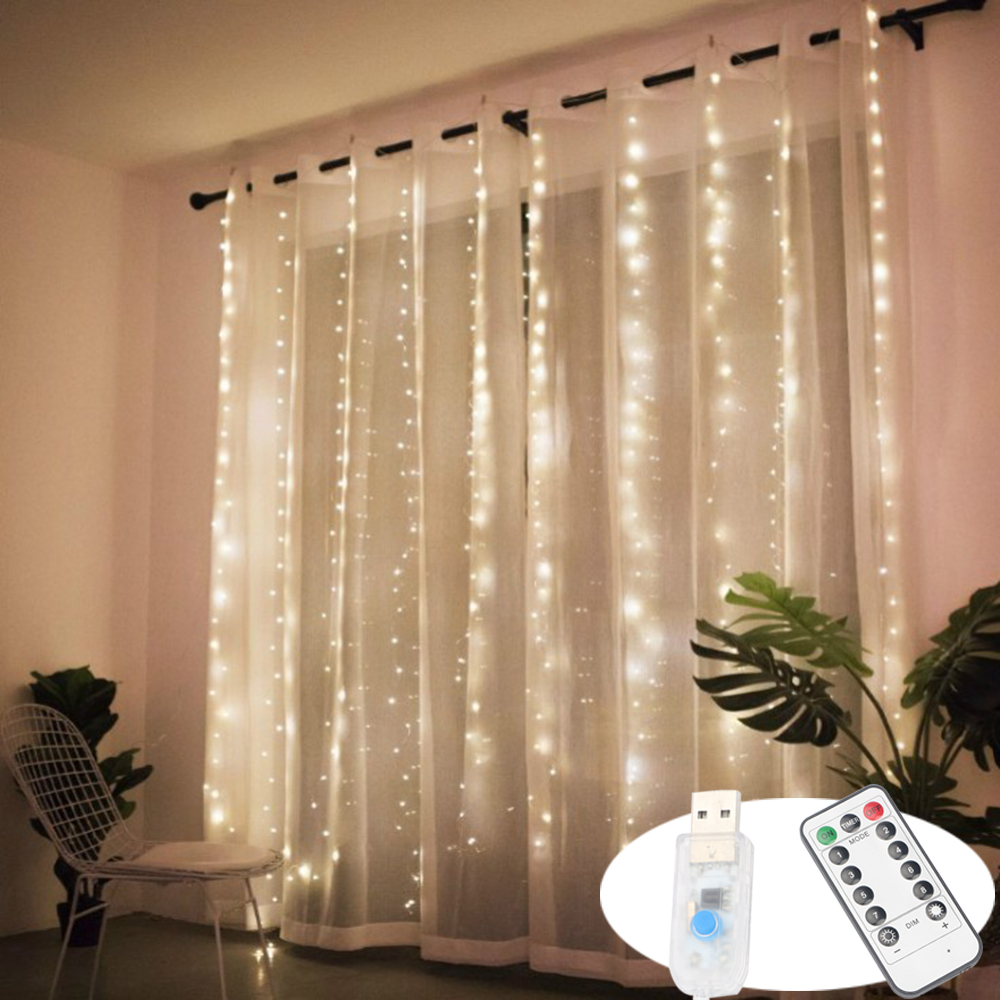 Remote Led Curtain String Lights USB Powered Fairy Lights Garland Led For Window Home Decor Birthday Wedding Party Christmas