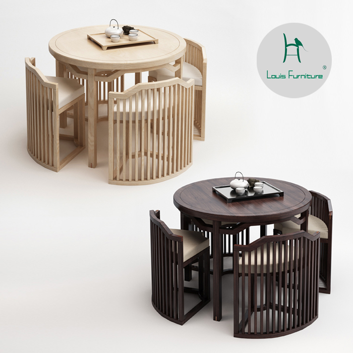 Louis Fashion Cafe Tables New Chinese Style  And Chairs Combined Modern Chinese Real Wood Coffee Tablet Stands Negotiation