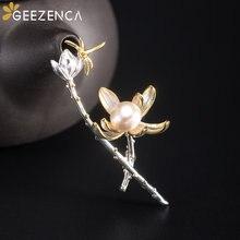 925 Стерлинговое Серебро Цветок лотоса бутон Стрекоза броши