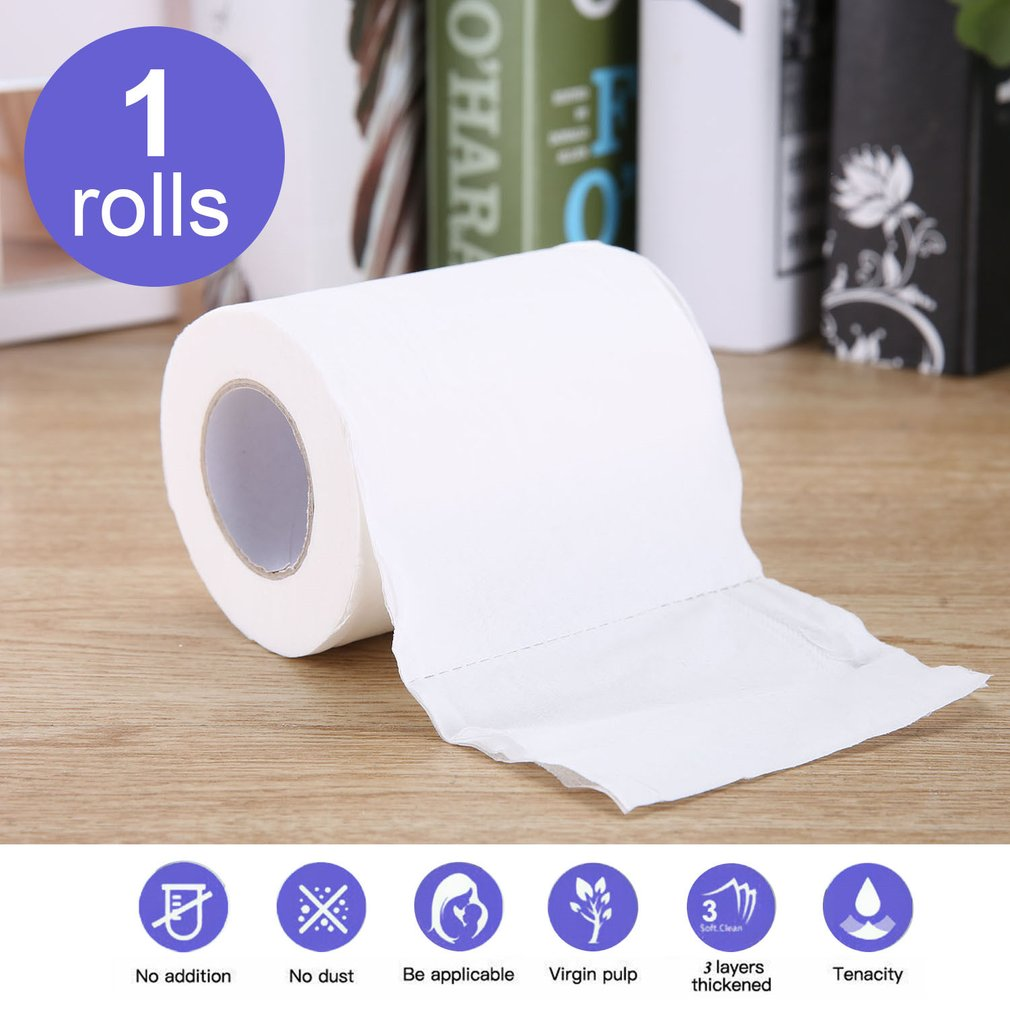 1 Roll Natural Paper Towels Portable High Quality Toilet Paper For Office For Family Restaurant English Packaging