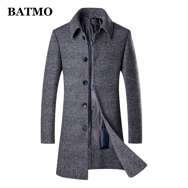 BATMO new arrival winter 90% white duck down liner thicked wool trench coat men,men's wool jackets,men's wool warm coat 2107