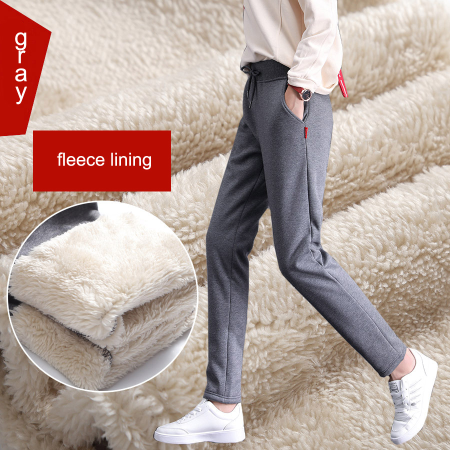 Women's Winter Pashm Casual Pants Woman Warm Cotton Sweatpants Cashmere Trousers For Women Korean Palazzo Pants