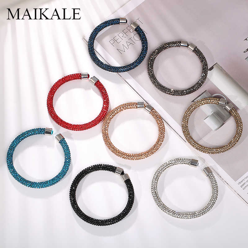 MAIKALE New Lovely Austrian Crystal Cuff Bracelet Colorful Shiny Rhinestone Bangles Open Bracelets for Women Charm Jewelry Gifts