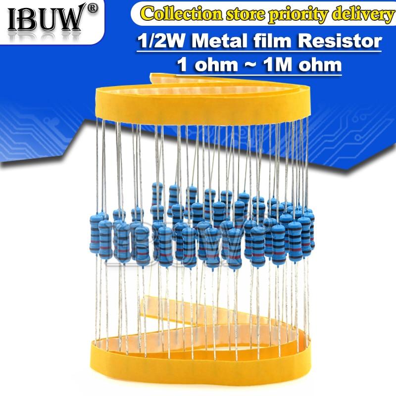 50 uds/1/2W resistencia de película de Metal 1R ~ 2,2 M 100R 220R 330R 1K 1,5 K 2,2 K 3,3 K 4,7 K 10K 22K 47K 100K 100, 220 de 330 1K5 2K2 3K3 4K7 ohm