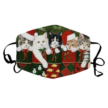 Adult's Fashion Face Mask Christmas Cute Cats Printing Mouth Caps Adjustable Ear Band Washable Reusable Face Mask Mascarillas#NL image