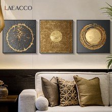 Laeacco Golden Art Poster Wall Art Print Canvas Painting Nordic Home Decor Wall Pictures for Living Room Bedroom Decoration