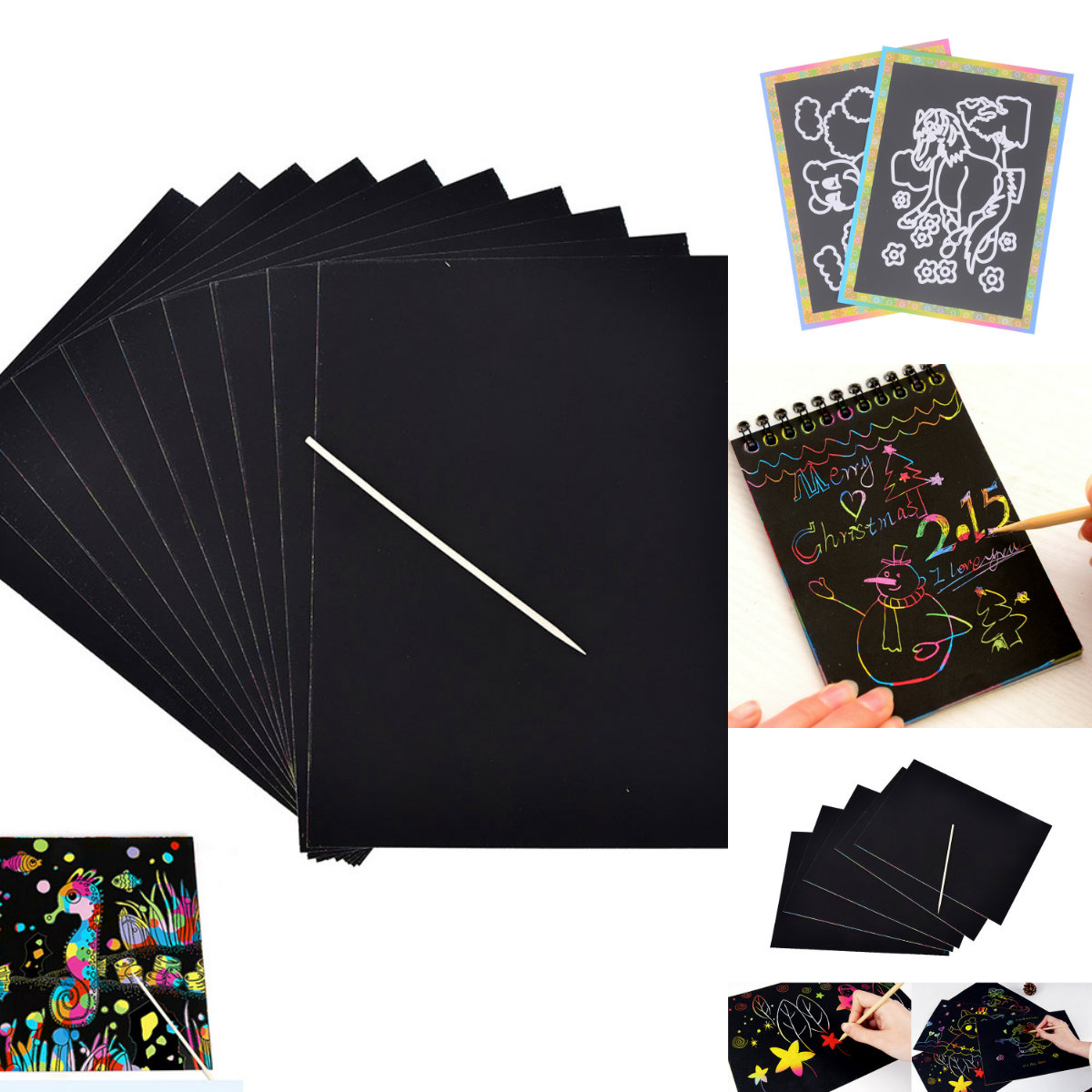 10 Sheets Magic Color Rainbow Scratch Art Paper Card Set With Graffiti Stencil For Drawing Stick DIY Painting Toy Kids