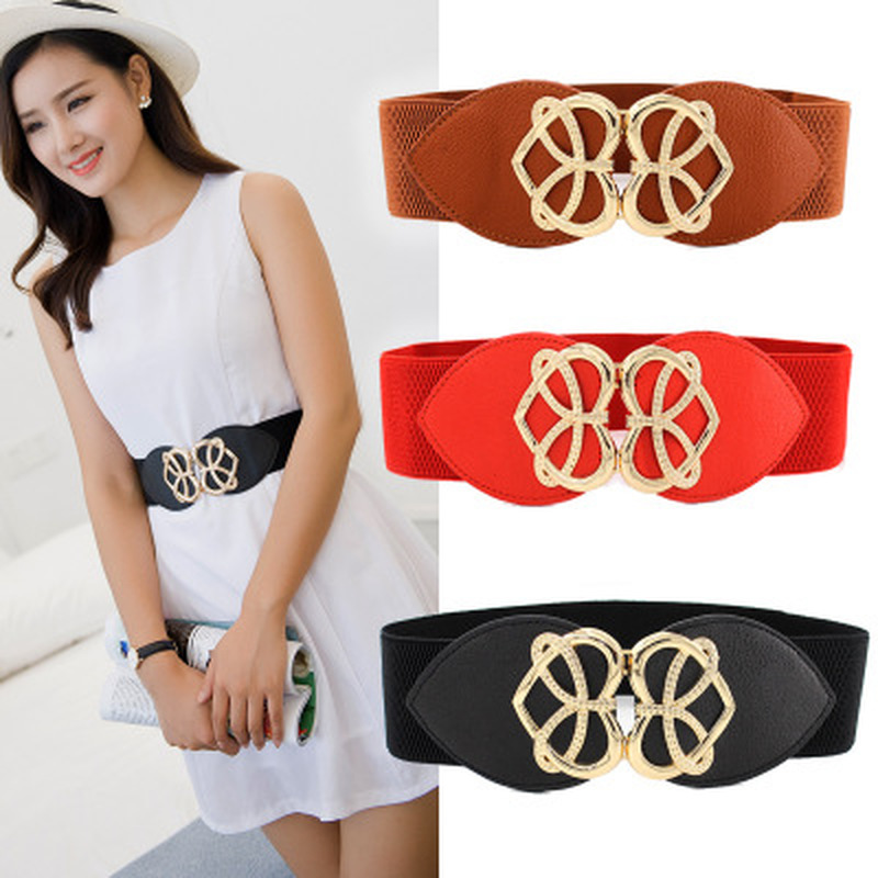 Women Bright Gold Heart Buckle Elastic Waistband Black 6cm Width And 60cm Long Waist Belt Dress Adornment For Women Waistband
