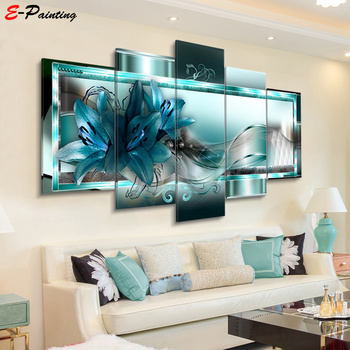 Modern Canvas Painting 5 Pieces Wall Art Beautiful Abstract Lily Flower Decoration Living Room and Bedroom Decor Picture