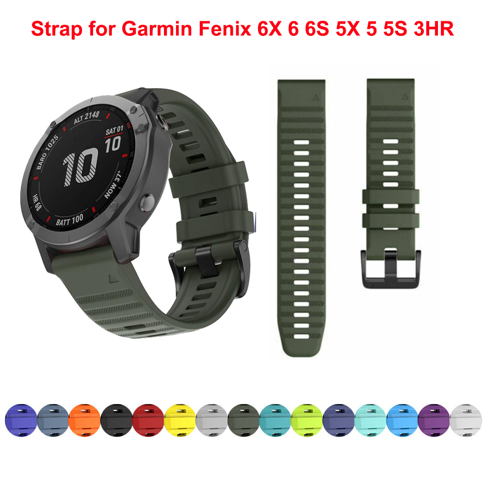Soft Silicone 26mm 22mm Quick Release Watchband Wriststrap For Garmin Fenix 6 6S 6X 5X 5 5S 3 HR Watch Easyfit Watch Wrist Band