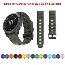 Soft Silicone 26mm 22mm Quick Release Watchband Wriststrap for Garmin Fenix 6 6S 6X 5X 5 5S 3 HR Watch Easyfit Watch Wrist Band