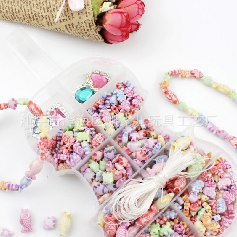 Children DIY Beaded Bracelet Necklace Material Box Children Loose Beads Plastic Beads Box GIRL'S Jewelry Box