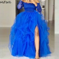 Royal Blue Party Dresses High Side Slit Tulle Skirt Puddy Tiered Skirt for Women Two Pieces Plus Sizs Homecoming Dress