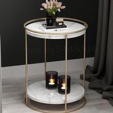 De nórdico de la Mesa de hierro Simple pequeña mesa de café mesa de sofá del gabinete del lado de lujo Luz de mesa de esquina mármol MESA DE S