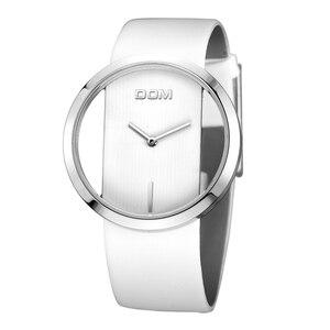 Image 5 - שעון נשים DOM מותג יוקרה אופנה מזדמן קוורץ ייחודי אופנתי חלול שלד שעונים עור ספורט ליידי שעוני יד 205L