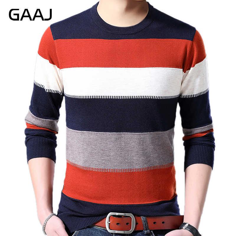 GAAJ 2019 di marca casual a righe lavorato a maglia pull maglione degli uomini di indossare la maglia abito di lusso mens pullover maglioni di moda maschile uomo sweter