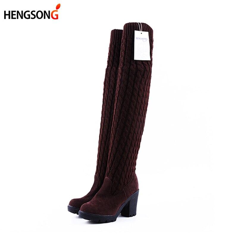 Mode-Vrouwen-Laarzen-Knie-Hoge-Elastische-Slanke-Herfst-Winter-Warm-Lange-Dij-Hoge-Gebreide-Laarzen-Vrouw