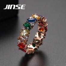 Se ouro cor anel multicolorido zircônia cúbica baguette anéis para mulheres na moda anel de pedra casamento banda jóias festa