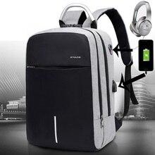 الرجال حقيبة لابتوب حقيبة السفر متعددة الوظائف حقيبة أعمال مكافحة سرقة USB شحن مقاوم للماء للجنسين حقيبة المدرسة لصبي