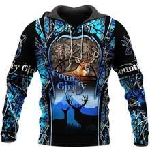 Sudadera con capucha para hombre y mujer, con estampado de ciervos y caza en 3D, jersey con cremallera, informal, Unisex, chándal