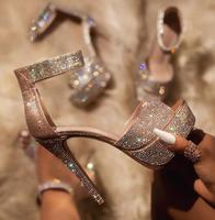 Bling Bling Sandals Crystal Sequined Platform Women Shoes For Pole Dance Fashion One Strap Open Toe Cover Heel Shiny Sandals