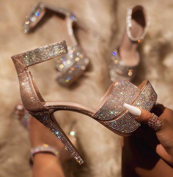 Sandalias Bling Lentejuelas de cristal zapatos de mujer de plataforma para baile en Barra de moda una correa punta abierta talón brillante sandalias Vinchas de flores de cristal rosa y AB de moda, diadema redonda con diamantes de imitación para mujer, accesorios capilares de lujo