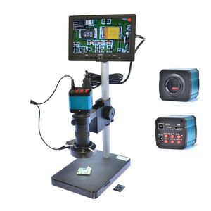 HAYEAR Full HD 14MP USB цифровой микроскоп промышленности Камера 100X зум Cmount объектив 4 Гб TF карты + 7 дюймов ЖК-дисплей монитор