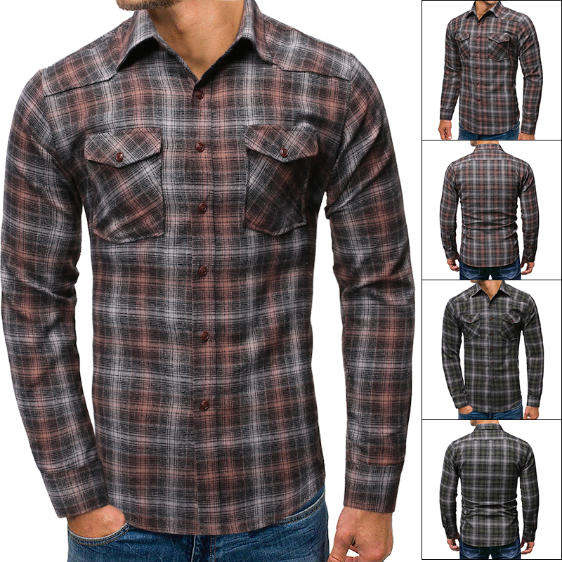 Wild Plaid Shirt Men 2019 Autumn Fashion Double Pocket Long Sleeve Casual Shirts Lapel Cardigan Hip Hop Streetwear Camisa Masculina