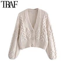 Traf Vrouwen Mode Pompom Applicaties Cropped Gebreide Vest Trui Vintage Lange Mouw Vrouwelijke Bovenkleding Chic Tops