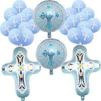 Globos de cruz de Jesús con la bendición de Dios, azul, rosa, fiesta de bienvenida al bebé, niño y niña, primera comunión, fiesta de Pascua, bautismo, decoración de bautizo bifurcada