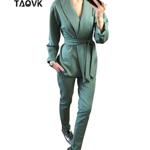 Image 2 - TAOVK Office Lady Pant Suits Womens Costume Belt Blazer top and pencil pants two piece outfits femme ensemble Pantsuit Spring