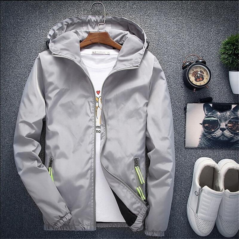 Men Autumn Bomber Jacket Women Casual Solid Windbreaker Zipper Thin Hooded Coat Slim Fit Pilot Jacket Outwear Male Plus Size 7XL 2