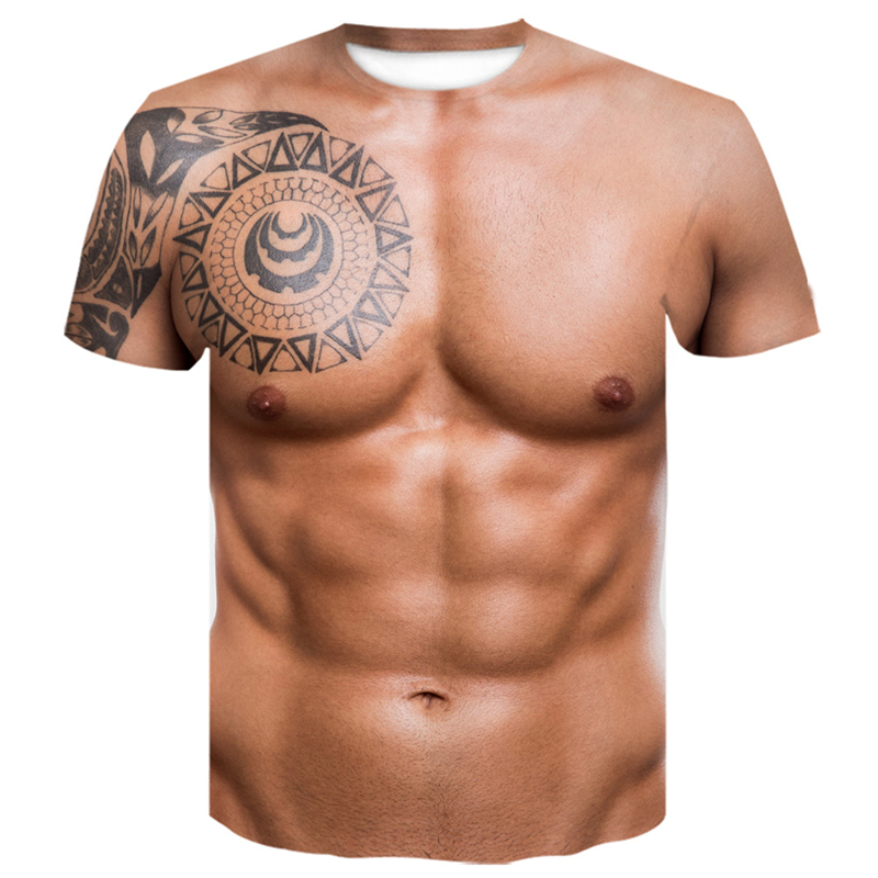 Men's 3D T-Shirt Bodybuilding Simulated Muscle Tattoo T-Shirt Funny 3D Printing Short-Sleeve Tops Skin Chest Muscle T Shirt