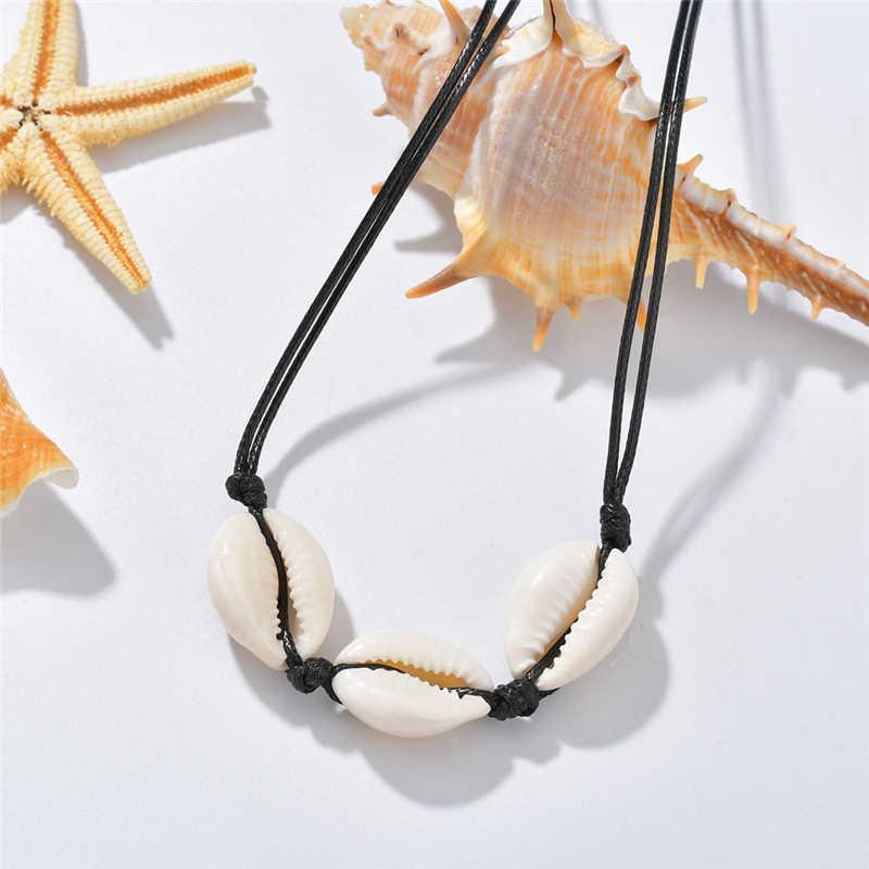 女性のシェルネックレス天然貝殻夏ビーチチョーカーネックレス襟ロープチェーン Concha ボヘミアンファッション宝飾ガールギフト