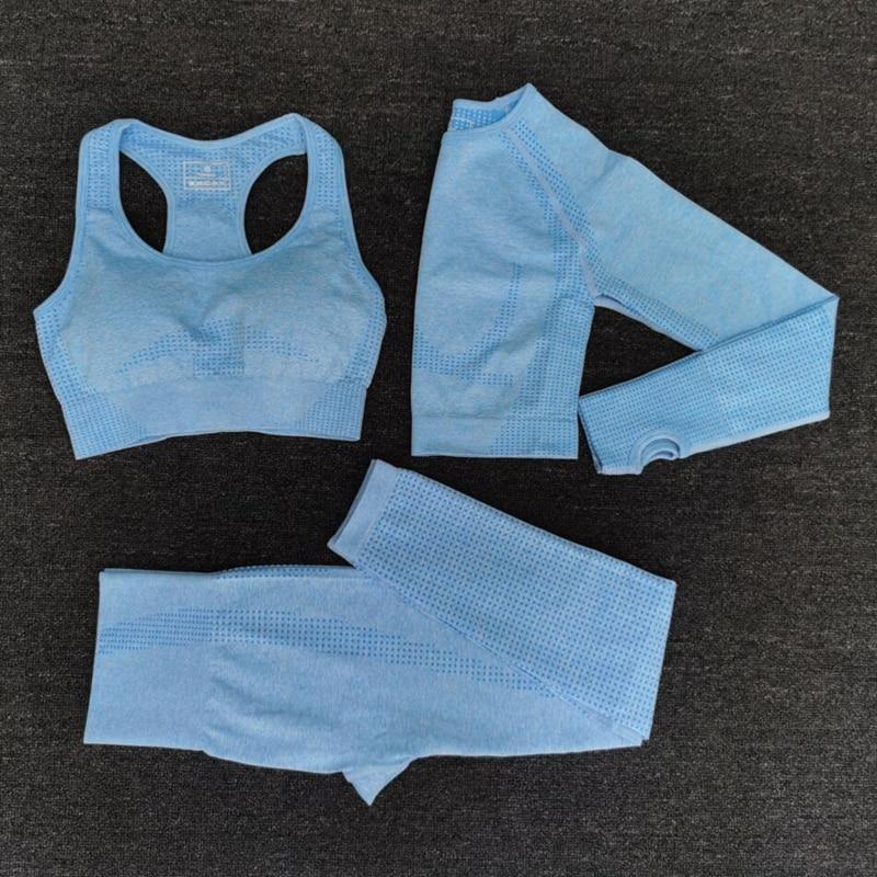 2020 Women Seamless yoga set Fitness Sports Suits GYM Cloth Yoga Long Sleeve Shirts High Waist Running Leggings Workout clothing(China)