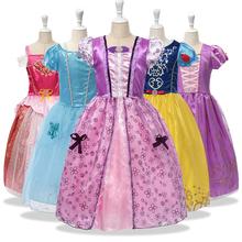 Dziewczęce fantazyjne sukienki dziecięce kostium śnieżki księżniczka bella Sofia Aurora Cindrella śpiąca królewna sukienka świąteczna tanie tanio Disney Poliester Satin CN (pochodzenie) Kolan O-neck Dziewczyny Latarnia rękaw Krótki Europejskich i amerykańskich style