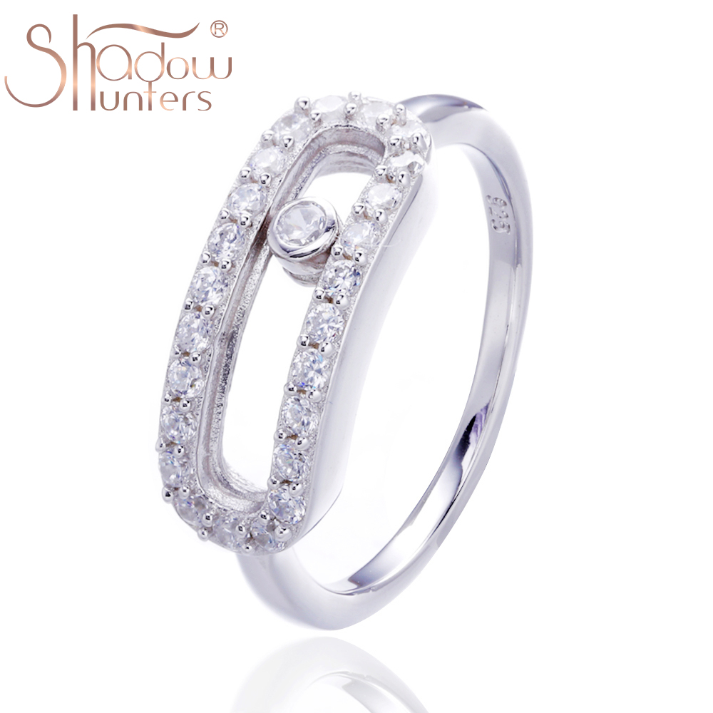 SHADOWHUNTERS Real 100% 925 Sterling Silver Move Stone Rings With Clear CZ Luxury France Femme Mujer Jewelry Making Wholesale