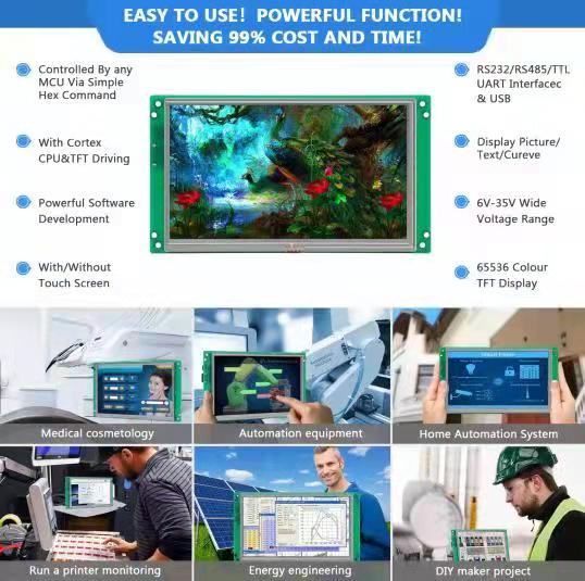 Intelligent HMI TFT LCD 4.3 inch with PCB +  Software for industrial control