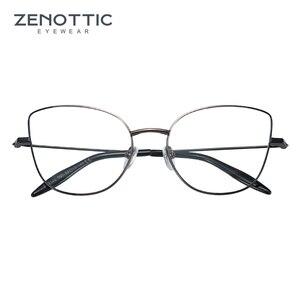 Image 3 - Zenottic cat eye óculos frame para mulher simples prescrição de metal armação de resina clara lente miopia óptica eyewear 2020