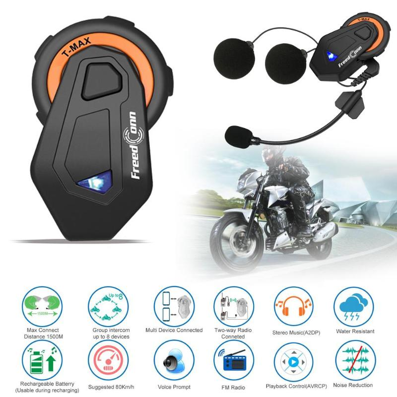 FreedConn T-MAX 2x 1000m BT4.1 Motorcycle Helmet Intercom 6 Riders Headsets