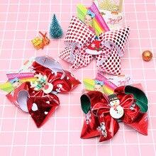 """CN """" Jojo банты для девочек/Jojo Siwa большие рождественские Jojo банты для волос для девочек с зажимами бант ручной работы аксессуары для волос"""
