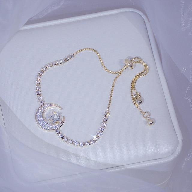 2020 New Arrive Elegant Delicate Zircon Moon Star Bracelet Bling Micro Inlaid Zirconia Feminia Pulseras Bangles Anniversary Gift 1